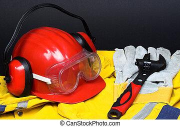 capacete, vermelho