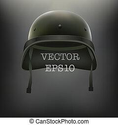 capacete, vetorial, experiência verde, militar