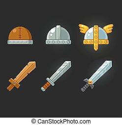 capacetes, jogo, jogo, espadas