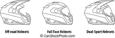capacetes, tipo, esboço, vector., motocicleta