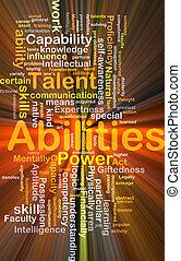 capacidades, glowing, conceito, fundo