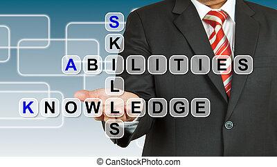 capacidades, homem negócios, fraseio, conhecimento,...