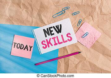 capacités, business, texte, supplies., cahier, écriture main...