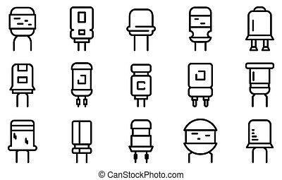 Capacitor icons set. Outline set of capacitor icons for web design isolated on white background