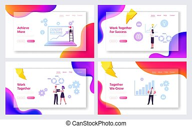 Capacity Building Website Landing Page Set. Education, Finance Goal Achievement Searching Solution, Improvement Corporate Finance Situation, Training Web Page Banner. Cartoon Flat Vector Illustration