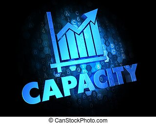 Capacity with Growth Chart - Blue Color Text on Dark Digital Background.