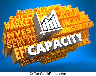 Capacity with Growth Chart - White Color Text on Yellow Word Cloud on Blue Background.