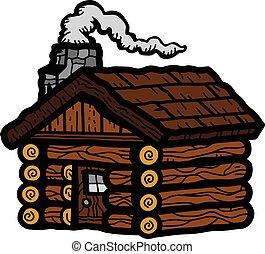 neve cabina illustrazione neve vettore nero On compagnia di tè in cabina di tronchi