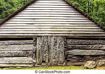 capanna di tronchi, in, il, legnhe