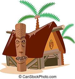 capanna paglia, albero noce cocco, illustrazione