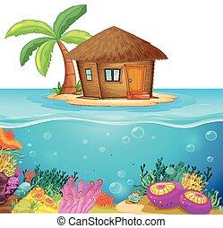 capanna, su, il, isola, medio, di, il, oceano
