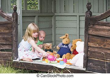 capannone, tè, giovane, ragazza bambino, gioco