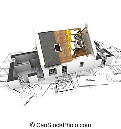 capas, casa, planes, techo, expuesto