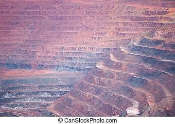 capas, corte, mineral, depósitos, mina, abierto