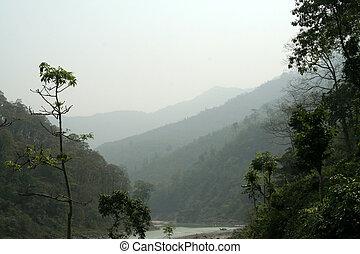 capas, de, montañas
