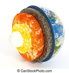 capas, earth., ilustración, 3d
