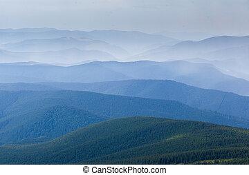 capas, montaña, ocaso, smokies, simple