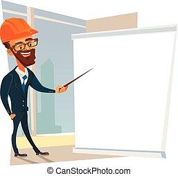 capataz, presentation., apartamento, personagem, construtor, trabalhador, ilustração, vetorial, fazer, caricatura, homem