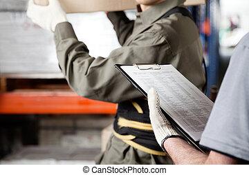 capataz, y, supervisor, trabajar, almacén