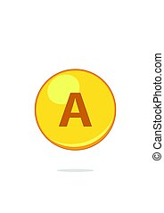 capcule, goud, retinol, druppel, vrijstaand, vitamine, achtergrond., capsule., witte pil, pictogram