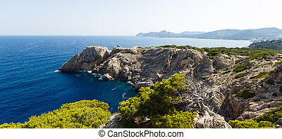 View of Capdepera in Mallorca at the summer day