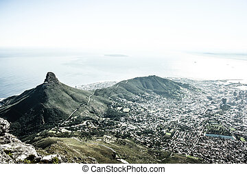 (cape, berg, stad, stad, africa), tafel, zuiden, aanzicht