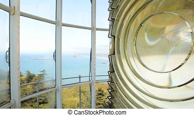 Cape Blanco Lighthouse - Close up of Fresnel lens in Cape...