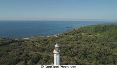 Cape Bojeador Lighthouse. Philippines, Luzon. - Aerial view...