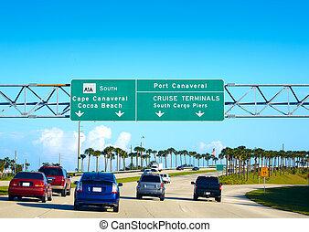Cape Canaveral and Cocoa beach sign Florida - Cape Canaveral...
