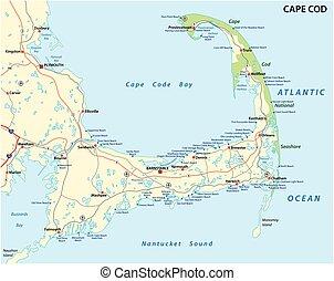 cape cod beach map - cape cod road and beach map