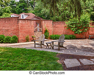 Cape cod chairs on stone patio