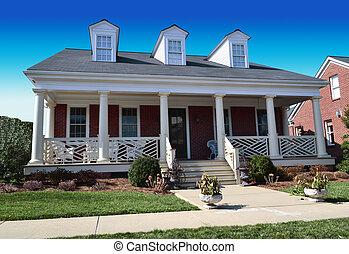Cape cod house with front porch