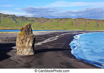 On an ocean beach with volcanic sand