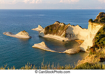 Cape Drastis in Corfu, Greece, bathed in afternoon light