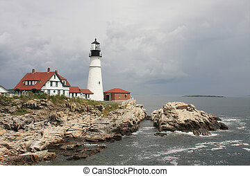 Cape Elizabeth Lighthouse before cloudy sky, New England,...