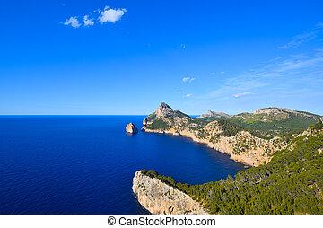 Cape Formentor peninsula and deep blue sea on the island of...