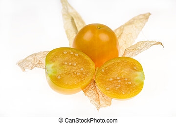 Cape gooseberry, physalis on white background.