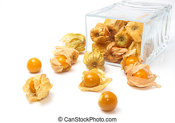 Cape Gooseberry (Physalis peruviana) in glass bowl on white background