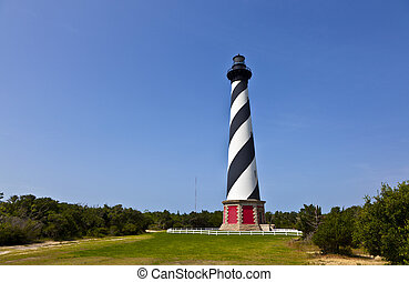 Cape Hatteras Lighthouse in Buxton on Hatteras Island on the...