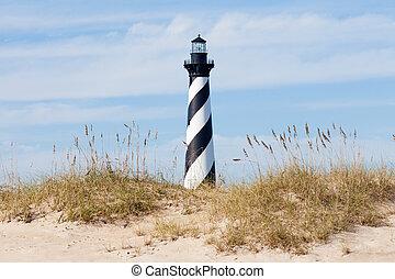 Cape Hatteras Lighthouse seen from beach NC USA - Cape...