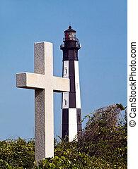 Cape Henry Cross and Lighthouse - Cross marks spot Jamestown...