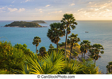 Cape is a mountain of rock in Phuket, Thailand