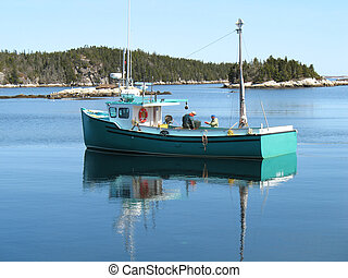 Cape Islander Boat - Blue Cape Islander boat out on the...