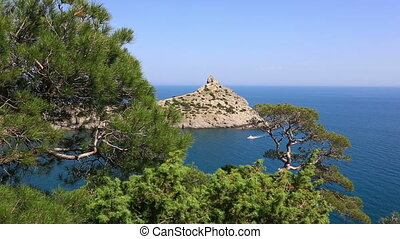 Cape Kapchik in Black Sea at sunny day, Crimea - General...