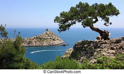Cape Kapchik in Black Sea at sunny day, Crimea - tourist...