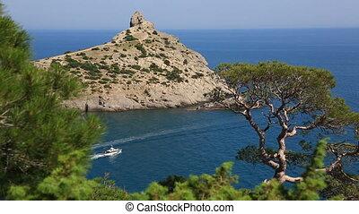 Cape Kapchik in Black Sea at sunny day, Crimea