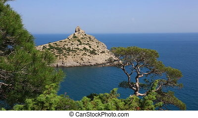Cape Kapchik in Black Sea at sunny day, Crimea - tourist...