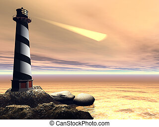 CAPE LOOKOUT - A lighthouse shines out to sea to warn...