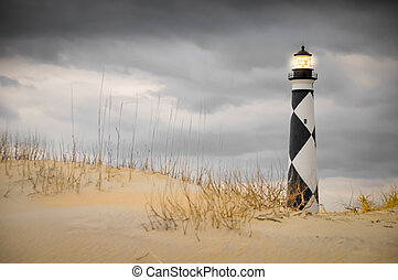 Cape Lookout during a storm - Cape Lookout lighthouse on a...
