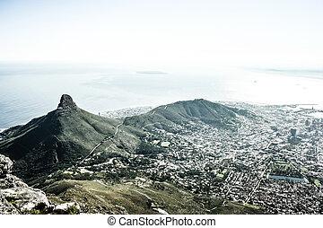 (cape, montanha, cidade, cidade, africa), tabela, sul, vista